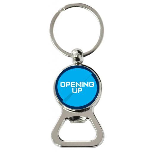 Opening Up - Round Bottle Opener Keyring
